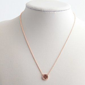 Tory Burch Crystal Logo Delicate Necklace